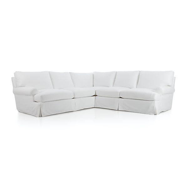 Ellyson Slipcovered 2 Piece White Sectional