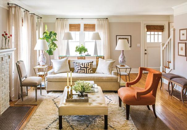 Traditional Living Room Benjamin Moore Ashen Tan MH Design Inc