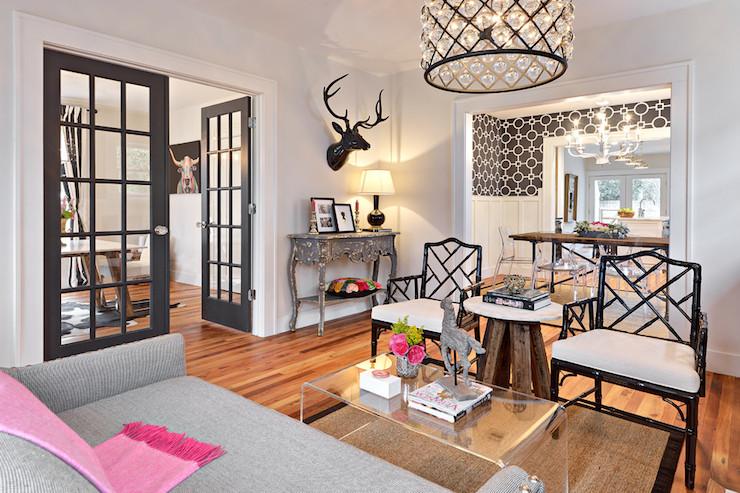 Gray French Doors Eclectic Living Room Benjamin