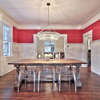 Dining Room Board and Batten, Contemporary, dining room, Benjamin Moore Raspberry Glaze, Avenue B