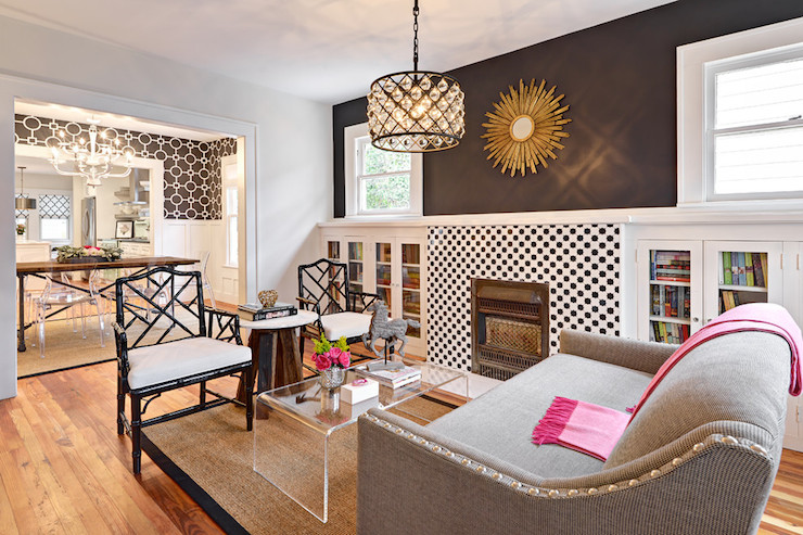Fireplace Bookcases Contemporary Living Room