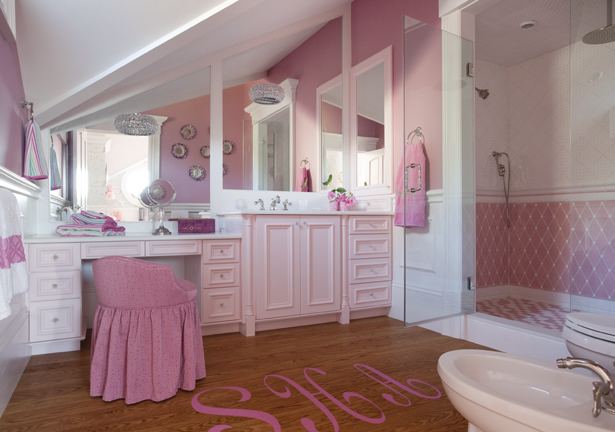 Monogrammed Floor Traditional Bathroom Robin Pelissier