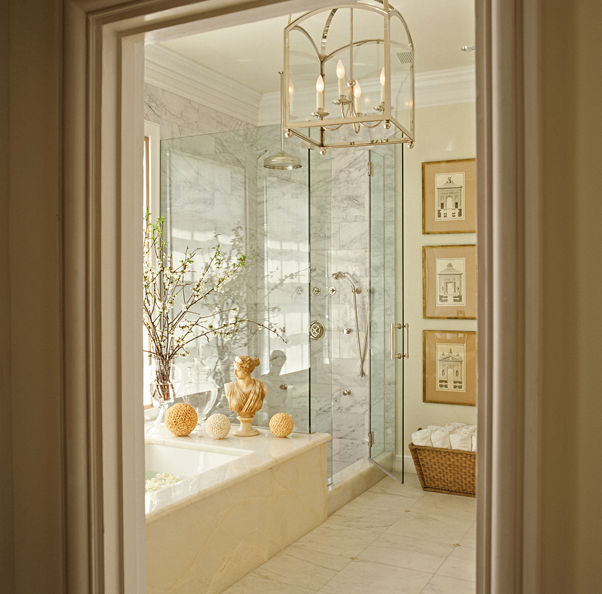 Walk In Shower With Soaking Tub Transitional Bathroom