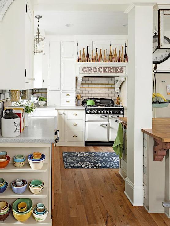 Kitchen Island With Dark Gray Concrete Countertop Cottage Kitchen