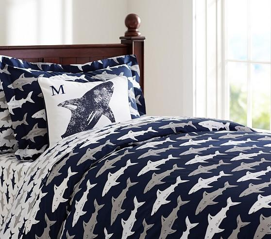 Preppy blue and white shark duvet cover