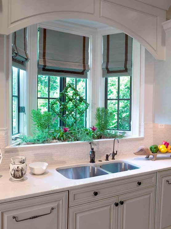 Bay window kitchen sink transitional kitchen for House plans with kitchen sink window