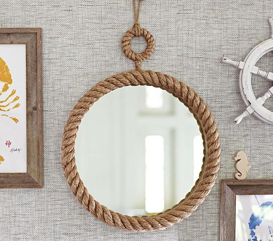 Brand new Round Wall Mirror Nautical in Black SI16