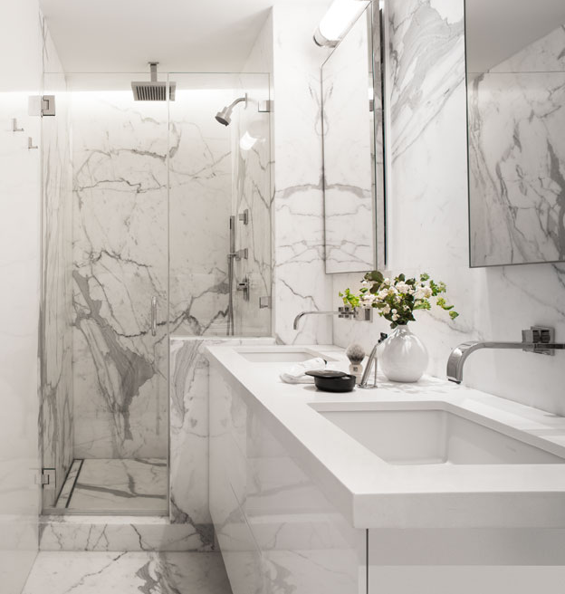 Gray White Veined Marble Bathrooms: Blue Water Home