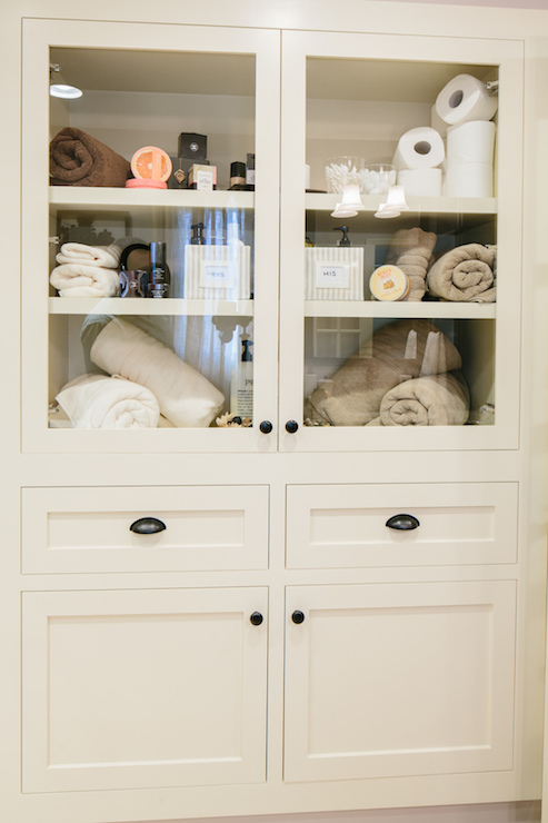 built in linen cabinet transitional bathroom redbud