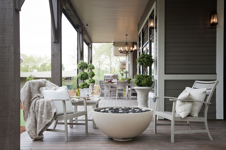 Covered Patio with Fireplace Contemporary deck patio