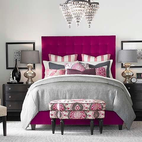 High Rectangular Pink Bed