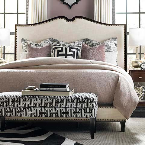upholstered beige bed. Black Bedroom Furniture Sets. Home Design Ideas