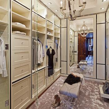 Beautiful Narrow Walk In Closet Features Floor To Ceiling Cabinets