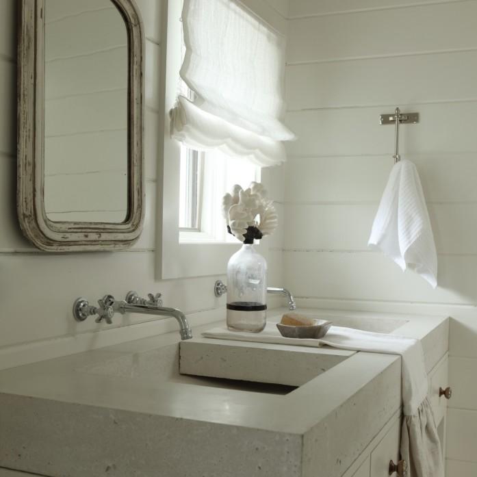 Concrete trough sink cottage bathroom the iron gate for Concrete bathroom ideas