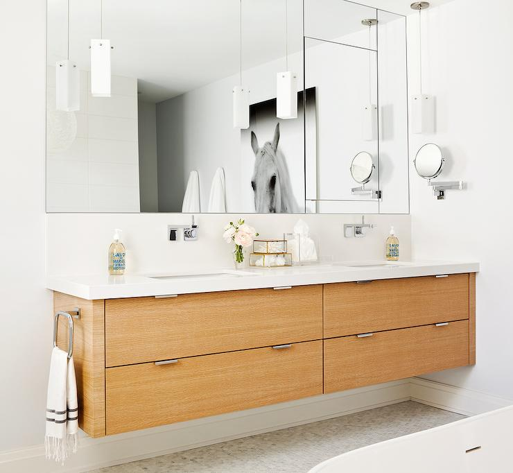 Bathroom Vanity Light Mounting Height floating bathroom vanity - contemporary - bathroom - weitzman