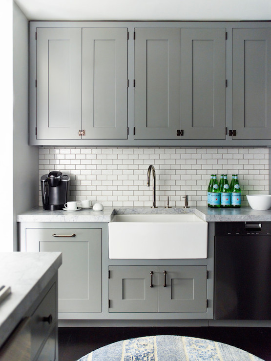 Grey Kitchen Cabinets Contemporary Kitchen Farrow And Ball - Backsplash for gray kitchen cabinets