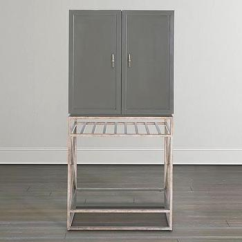 Silver Frame Mirrored Panels Bar Cabinet