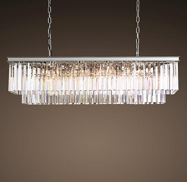 1920s Odeon Clear Glass Fringe Chandelier