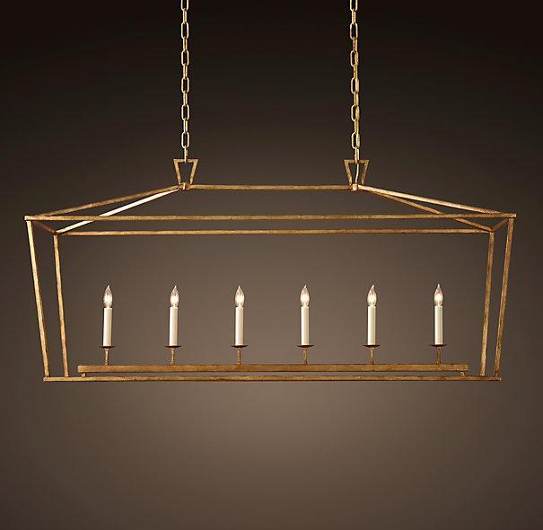 Restoration Hardware Black Light: 19th C English Openwork Linear Gold Pendant