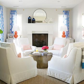Cobalt Blue Curtains Contemporary Living Room