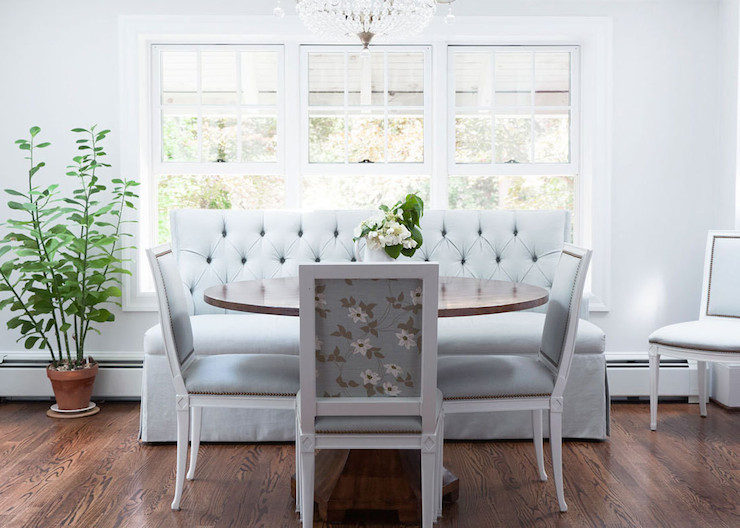 Blue Tufted Bench Transitional Dining Room Lonny Magazine