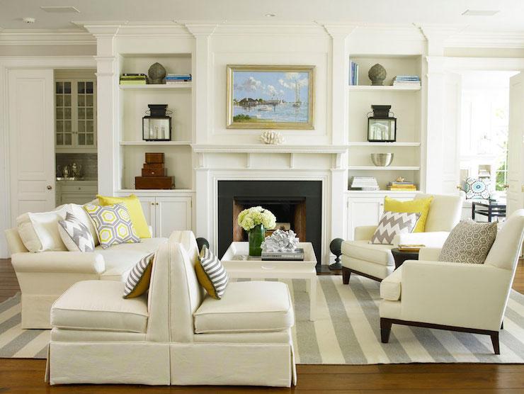 gray striped rug cottage living room brooks falotico. Black Bedroom Furniture Sets. Home Design Ideas