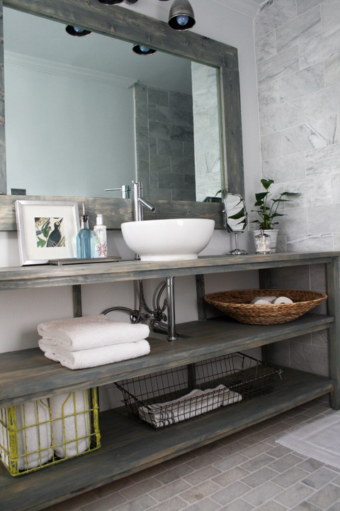 Blue Gray Vanity with Shelf - Transitional - Bathroom