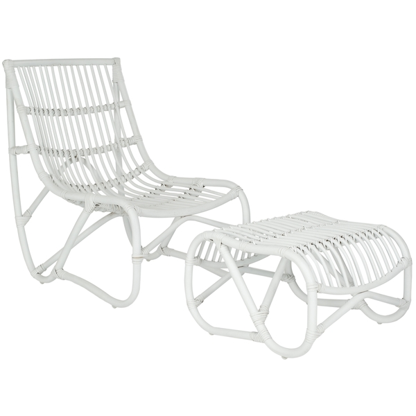 Charmant Safavieh Shenandoah White Wicker Chair And Ottoman Set View Full Size