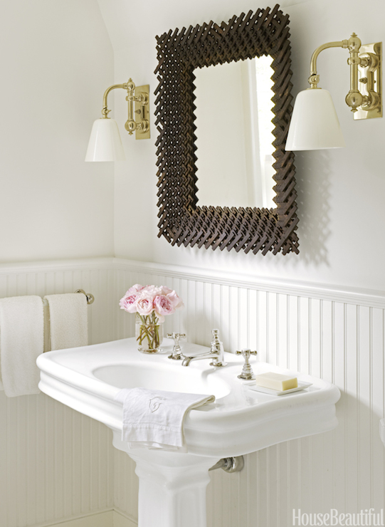 Blue powder room with brass towel holder contemporary for Roberts designs bathroom accessories