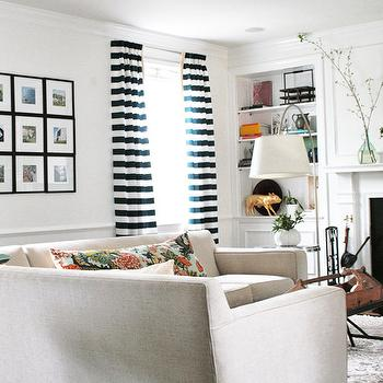 Black and White Curtains, Transitional, living room, Rachel Bishop Designs