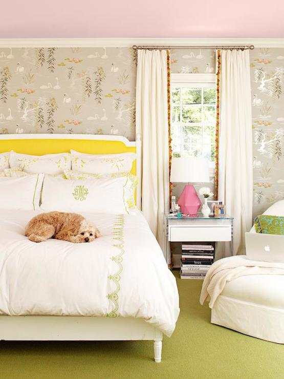 chic bedroom features pink ceiling over walls clad in nina campbell swan lake wallpaper framing french bed accented with canary yellow headboard dressed in