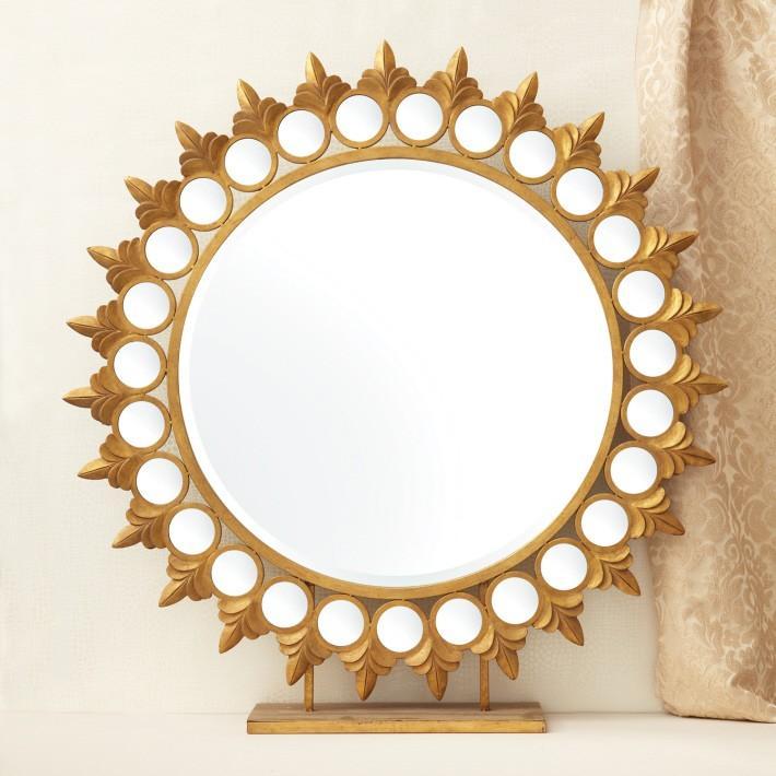 Twos Company Gold Sun Mirror On Pedestal