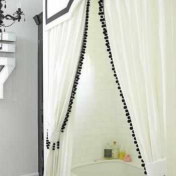 Curtains Ideas cost plus curtains : Ribbon Trim Panel with Grommet Top, Ivory with Black Trim ...
