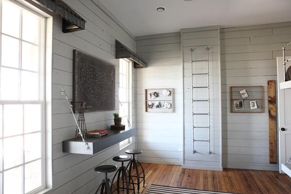 Gray Shiplap Paneling With Floating Console Country