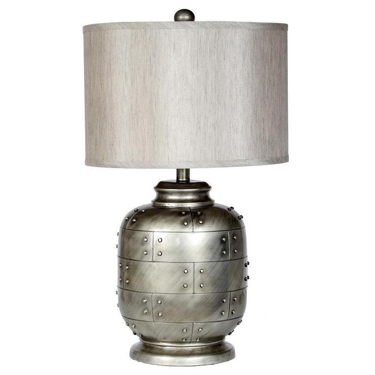 Unique Hammered Silver Metal Lamp QO99
