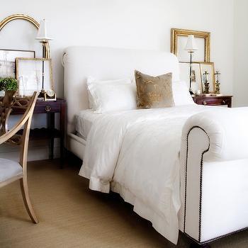White Sleigh Bed, Transitional, bedroom, Jessica Bennett Interiors