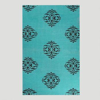 Aqua and Black Medallion Flat-Woven Wool Rug, World Market