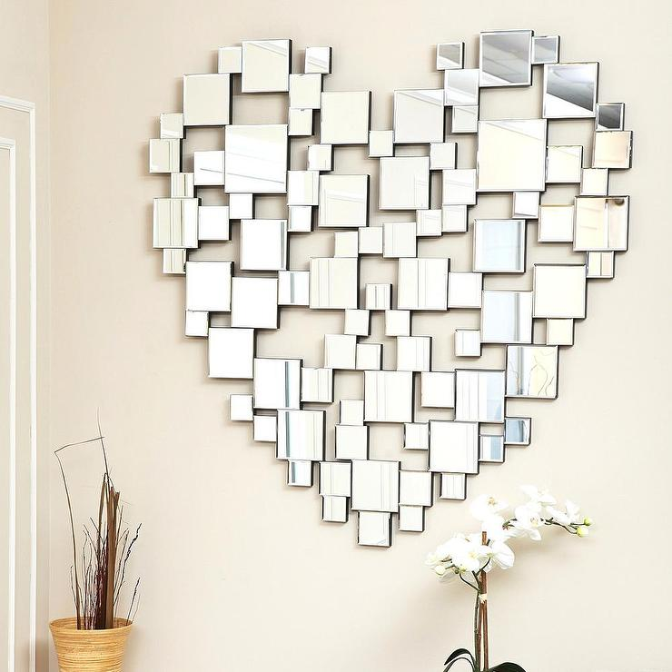 Abbyson Living Heart-Shaped Silver Wall Mirror