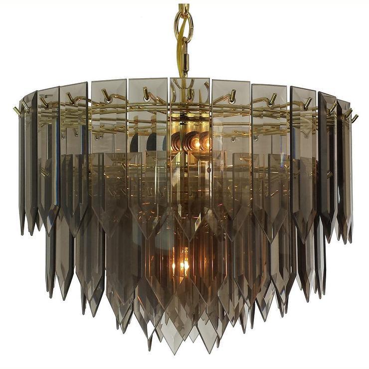 Brass smoked spear glass chandelier polished brass smoked spear glass chandelier mozeypictures Gallery