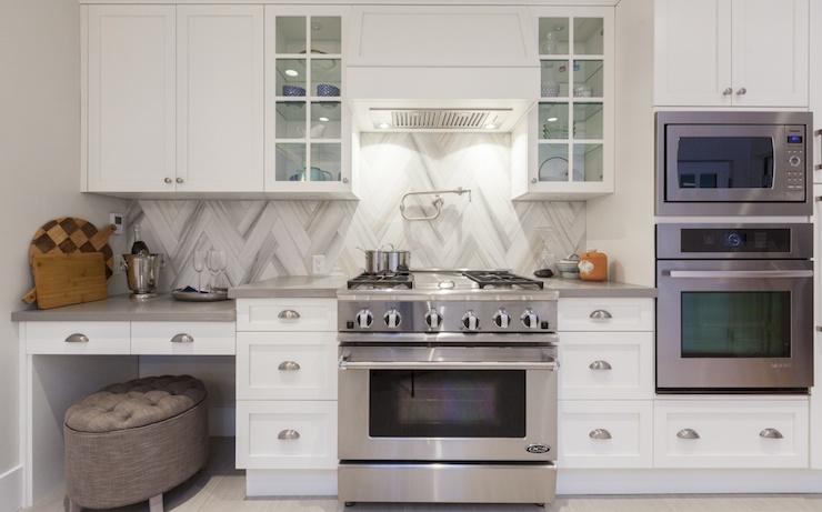 Chevron Backsplash Transitional Kitchen Behr Silver