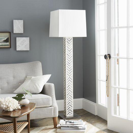 Bone Tile White Floor Lamp