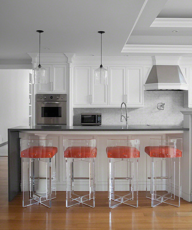 Lucite Counter Stools Contemporary Kitchen Morris