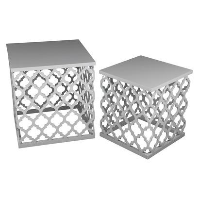 Lattice White Accent Table Set