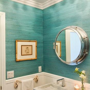 Turquoise Grasscloth, Cottage, bathroom, Brittney Nielsen Interior Design