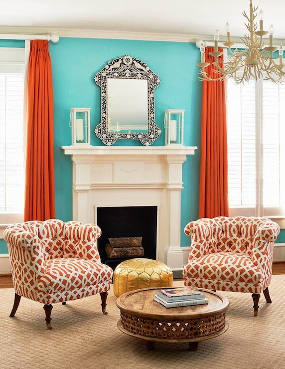 Orange curtains contemporary living room holly Curtains for blue living room walls