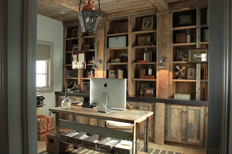 Rustic Built In Cabinets Country Den Library Office