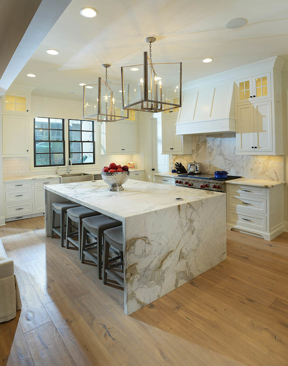 marble waterfall island transitional kitchen lori