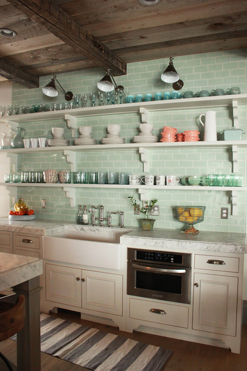 Modern Farmhouse Kitchen With Rustic, Wood Planked Ceilings Over A Wall Of  Stacked Shelves With Corbels Framed By A Seafoam Green Subway Tiled  Backsplash ...