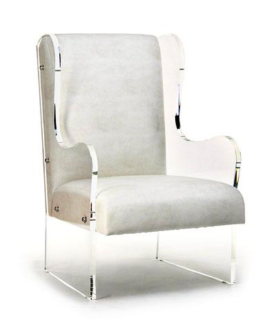 clear acrylic white wingback chair