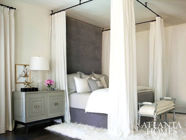 Melange Easton - Stunning bedroom with ceiling mount bed canopy dressed with white curtains over a ceiling height purple velvet headboard layered with gray ... & Gold and Black Campaign Canopy Bed with Purple Curtains ...